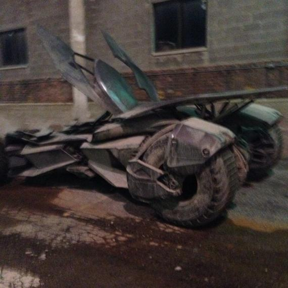El Batmóvil de Batman v Superman: Dawn of Justice (2016) en el set