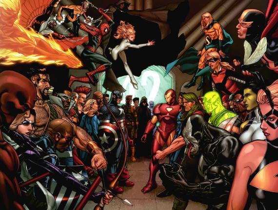 Imagen promocional del evento Civil War de Marvel Cómics