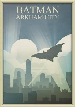 Fan-made póster minimalista de Batman: Arkham City, obra de Arco2002