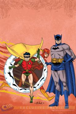 Portada alternativa 75 Aniversario de Flash de Batman & Robin #38 dibujada y coloreada por Dave Bullock