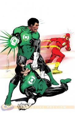 Portada alternativa 75 Aniversario de Flash de Green Lantern Corps #38 dibujada y coloreada por Bill Sienkiewicz