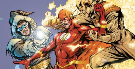 Capitán Frío, Flash y Heat Wave en un recorte de los cómics de The Flash