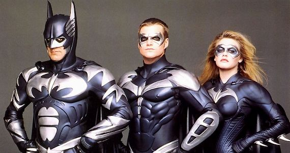 George Clooney, Chris O'Donnell y Alicia Silverstone como Batman, Robin y Batgirl en Batman and Robin (1997)