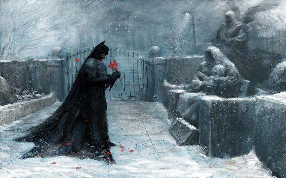 Batman frente a la tumba de sus padres