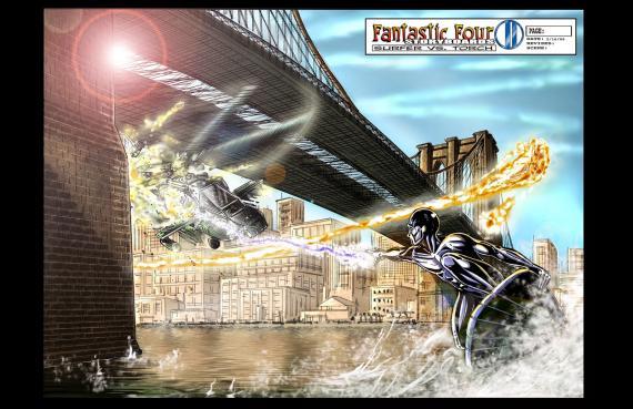 Storyboard de Los Cuatro Fantásticos y Silver Surfer / Fantastic Four: Rise of the Silver Surfer (2007), por Darrin Denlinger