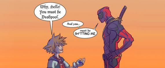 Fan-Art de un encuentro entre Sora (Kingdom Hearts) y Deadpool (Marvel)