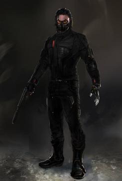 Concept art de Capitán América: El Soldado de Invierno (2014), diseño alternativo de El Soldado de Invierno, por Rodney Fuentebella