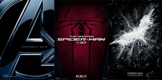 "Pósters de ""The Avengers"", ""The Amazing Spider-Man"" y ""The Dark Knight Rises"""