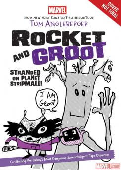 Portada provisional de la novela de Marvel Rocket & Groot: Stranded on Planet Strip Mall (marzo de 2016)