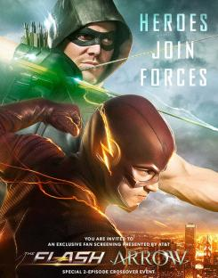 Póster del crossover entre la segunda temporada de The Flash y la cuarta de Arrow