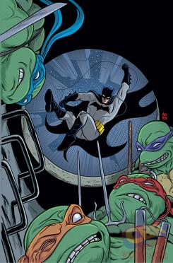 Portada alternativa de Batman / TMNT #1 por Mike Allred