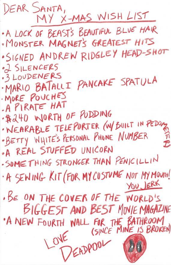 Lista de deseos de Deadpool para Navidad