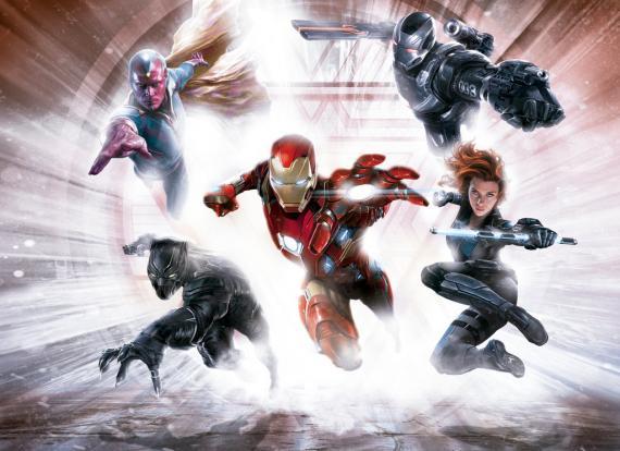 Promo art del equipo Iron Man en Capitán América: Civil War (2016)