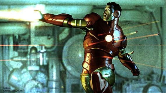 Concept art de Iron Man (Mark III) en Iron Man (2008), obra de Adi Granov