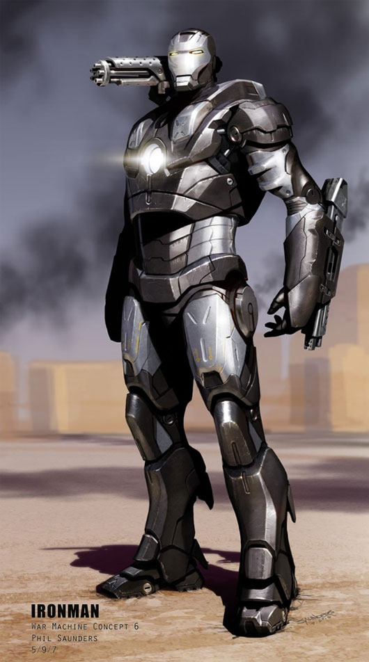 Concept art de War Machine en Iron Man (2008), obra de Phil Saunders