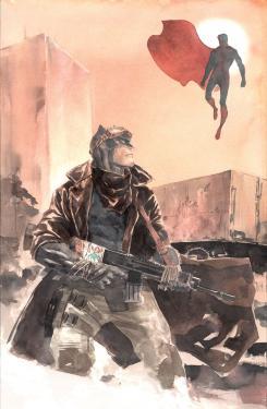 Portada alternativa temática Batman v Superman de Batman Beyond #10 por Dustin Nguyen