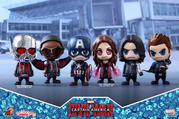 Imagen de las Cosbabys de Capitán América: Civil War (2016) realizadas por Hot Toys