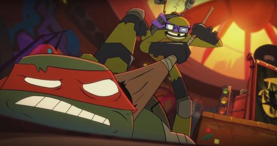 Captura del corto animado de TMNT Don vs Raph!