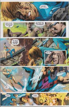 Interior del cómic estadounidense America's Got Powers #3, arte por Bryan Hitch