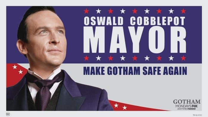 Cartel de la candidatura del Pingüino a la alcaldía de Gotham