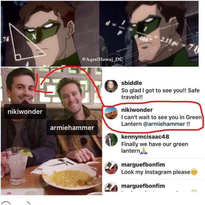La especulación continúa: un amigo de Armie Hammer lo felicita por ser Green Lantern