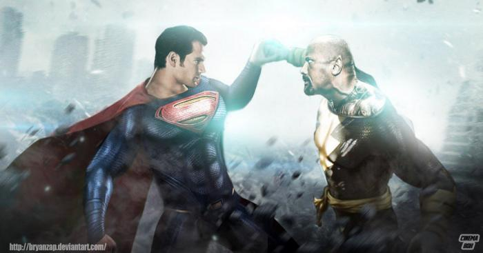 Henry Cavill como Superman y Dwayne Johnson como Black Adam en un fan-art