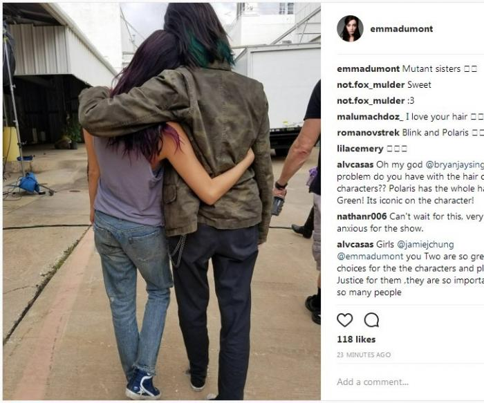 Emma Dumont como Polaris y Jamie Chung como Blink en el set de The Gifted (2017)