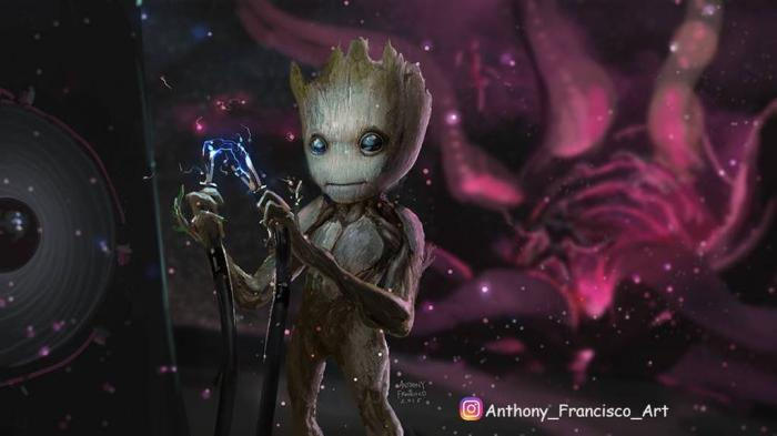 Concept art de Baby Groot / Teen Groot en Guardianes de la Galaxia vol. 2 (2017), arte por Anthony Francisco