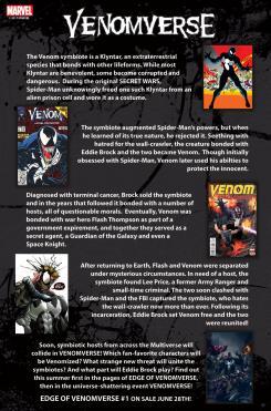 Imagen promocional del evento de cómics Venomverse (2017), resumen de la historia de Venom