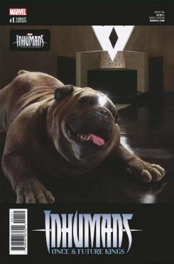 Lockjaw / Mandíbulas en la portada alternativa de Inhumans: Once and Future Kings #1