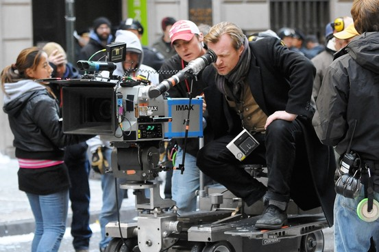 Imagen del set de The Dark Knight Rises (2012), el director Chris Nolan