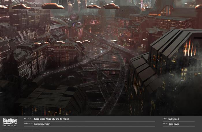 Concept art de Judge Dredd: Megacity One, obra de Jack Eaves