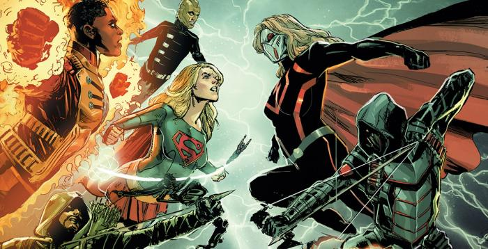 Imagen promocional de Crisis on Earth-X, el cuarto crossover del arrow-verso, por Phil Jimenez