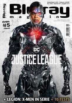 Cyborg en la portada de la revista Blu-ray, promocional de Liga de la Justicia / Justice League (2017)