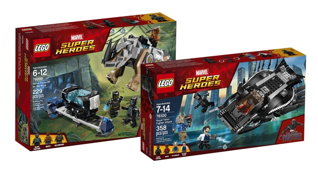 Imagen de los seet set de LEGO de Black Panther: Rhino Face-Off by the Mine y Royal Talon Fighter Attack