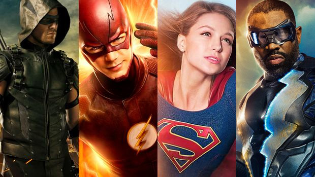 Imagen promocional de las series The Flash, Arrow, Supergirl y Black Lightning