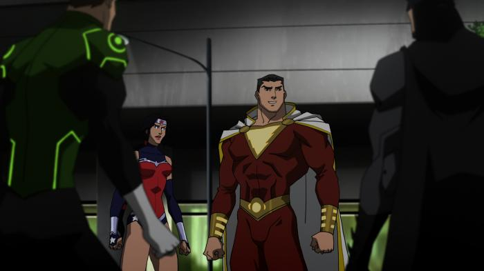 Shazam, Wonder Woman, Batman y Green Lantern en Justice League: War (2014)