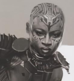 Diseños alternativos de Okoye para Black Panther (2018)