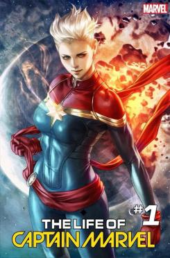 "Portada alternativa de Life of Captain Marvel #1, relanzamiento julio 2018, por Stanley ""Artgerm"" Lau"