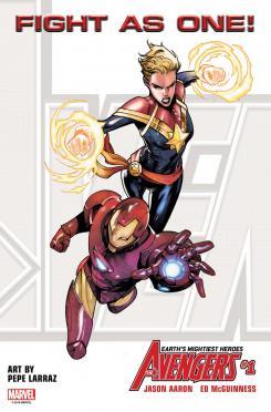 Captain Marvel/Capitana Marvel y Iron Man en imagen del relanzamiento del cómic Avengers (mayo 2018), arte de Pepe Larraz