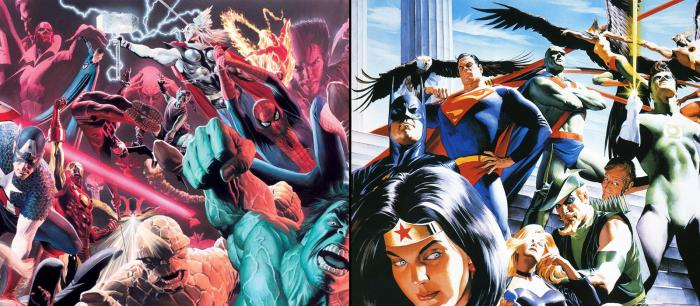 Arte de Alex Ross para Marvel Comics y DC Comics