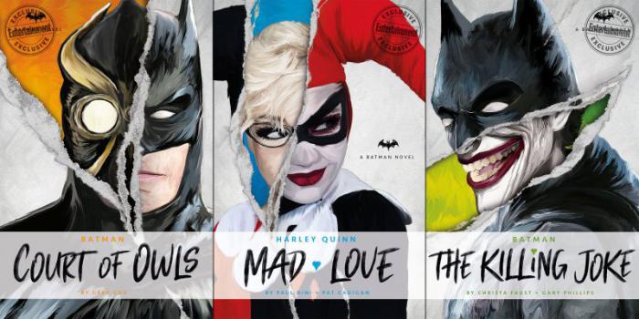 Novelas de Titan Books de La Broma Asesina, La corte de los Búhosy Harley Quinn: Mad Love