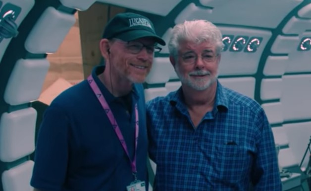 Ron Howard y George Lucas en el set de Han Solo: Una historia de Star Wars (2018)