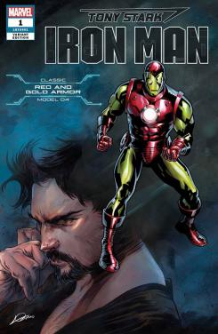 Portada alternativa de Iron Man #1 (junio 2018), la armadura Red and Gold (modelo 04)