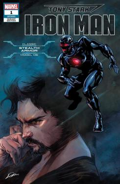 Portada alternativa de Iron Man #1 (junio 2018), la Stealth Armor (modelo 06)