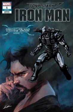 Portada alternativa de Iron Man #1 (junio 2018), la War Machine Armor (modelo 11)