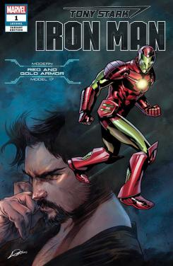 Portada alternativa de Iron Man #1 (junio 2018), la Red and Gold Armor (modelo 17)