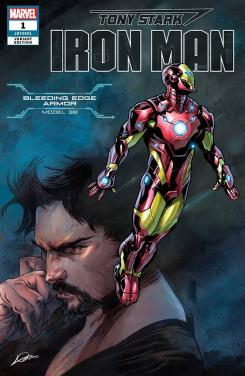 Portada alternativa de Iron Man #1 (junio 2018), la Bleeding Edger Armor (modelo 38)