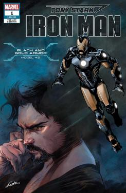 Portada alternativa de Iron Man #1 (junio 2018), la Black and Gold Armor (modelo 42)