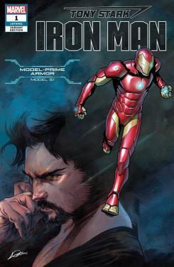 Portada alternativa de Iron Man #1 (junio 2018), la Model-Prime Armor (modelo 51)